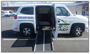 Photo of MV1 Paratransit vehicle with electric ramp down