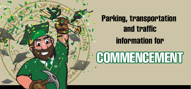 Commencement parking and transportation information banner