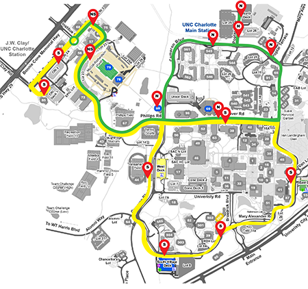 thumbnail of football shuttle route map