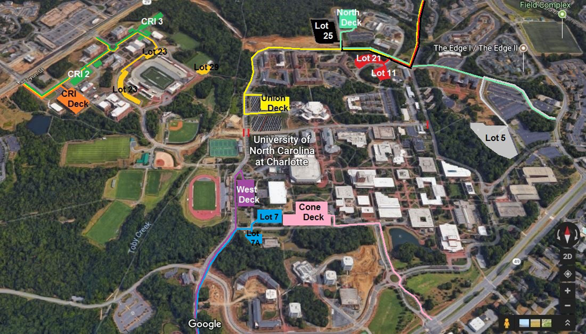 Uncc Parking Map Game Day Football Parking and Traffic | Parking and Transportation  Uncc Parking Map