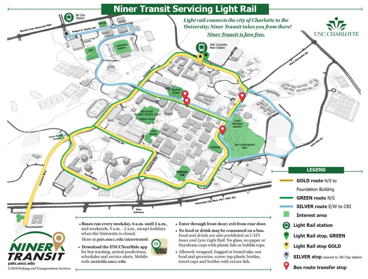 Cpcc Main Campus Map.Light Rail Parking And Transportation Services Unc Charlotte