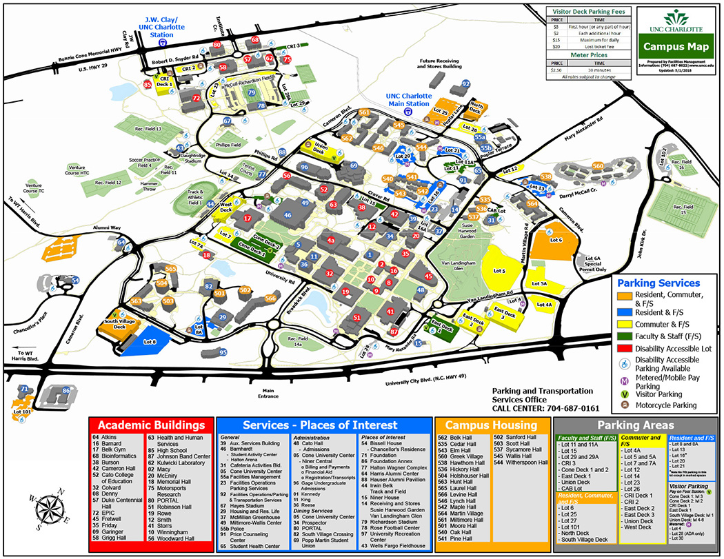 Unc Charlotte Map Parking | Parking and Transportation Services | UNC Charlotte
