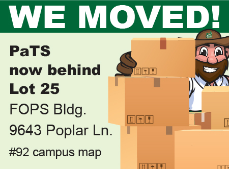 """We Moved-PaTS now behind Lot 25 FOPS Bldg., 9643 Poplar Ln. #92 campus map"" with Norm w/moving boxes"