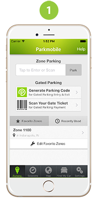 Parkmobile screenshot: Select your Parking Zone