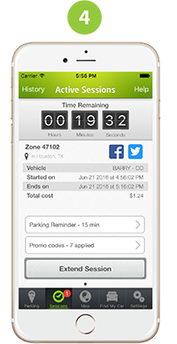 Parkmobile screenshot: Review remaining parking time